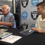 Fred Biletnikoff and Tyler Hemphill of National Sports Distributors