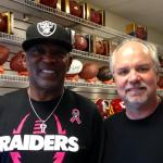 Cliff Branch picking up his latest order of helmets at NSD with owner Rob Hemphill