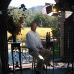 Dwight Clark partnered with NSD President Rob Hemphill in making wine. Here Dwight Clark is ready for another media interview.