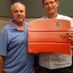 Steve Young and Rob Hemphill with Signed Candlestick Park seatbacks