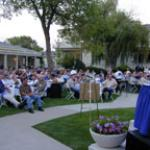 A great crowd enjoys Joe Montana at the Govenor's Mansion in Nevada