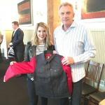 Joe Montana with Haley Mitgang of Levi's San Francisco at a wholesale NSD signing