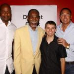 JJ Stokes, HOF Jimmy Johnson, Dwight Clark with NSD Justin Hemphill