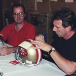 "Joe Montana autographs ""I left my heart in San Francisco"" for National Sports Distributors"