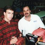 Rookie Peyton Manning with Rob Hemphill of National Sports Distributors