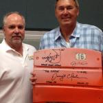 Dwight Clark and NSD President Rob Hemphill with Candlestick Park Seatbacks