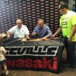 NSD President Rob Hemphill with Joe Montana at Kawasaki Event