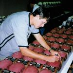 Jake Plummer autographing footballs for National Sports Distributors