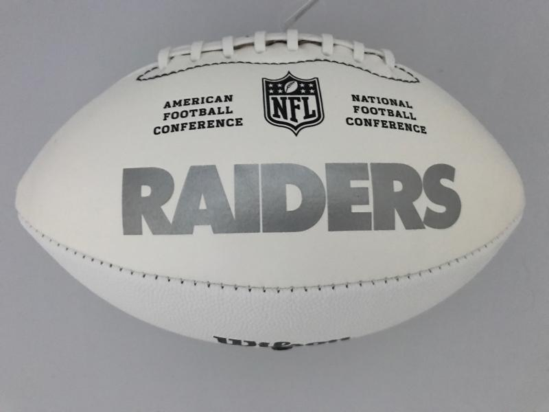 5bf489bac Derek Carr Signed Football - All White Raiders Logo | Sports ...