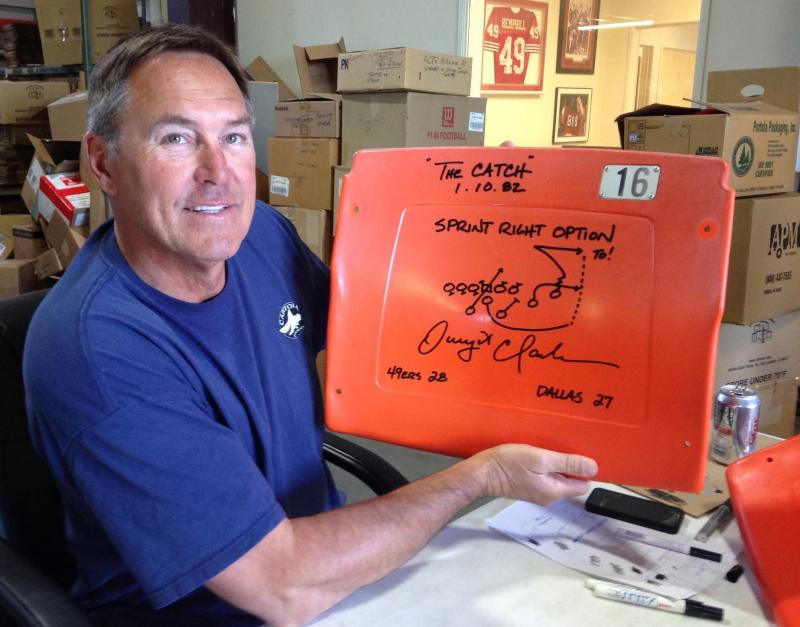 307315a044f Dwight Clark Autographed Candlestick Park Seatback