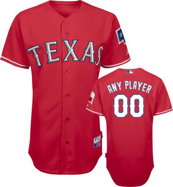 Texas Rangers Authentic Alternate Red Baseball Jersey by Majestic ... a57f91686f45