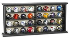 32 Piece NFL Pocket Pro Helmet Set in Black Wood Display