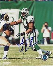 John Abraham Autographed Photo New York Jets 8x10 #69
