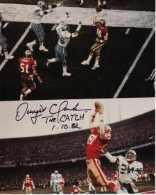 Autographed Dwight Clark photo of The Catch