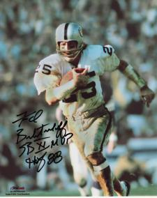Fred Biletnikoff Autographed Photo - 8x10 with SBXI MVP & Hof 88 Inscription