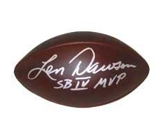"""Len Dawson Autographed Football Official Throwback Duke Game Model signed """"SBIV"""