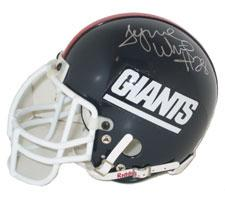 Tyrone Wheatley Autographed New York Giants Throwback Authentic Mini Helmet by Riddell Image