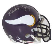 Randall Cunningham Autographed Minnesota Vikings Throwback Authentic Mini Helmet by Riddell Image