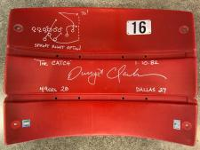 Dwight Clark Autographed Seatback Red Signed in Silver