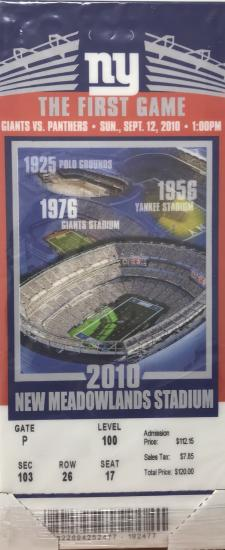 Mega Ticket NY Giants First Game at Meadowlands Stadium 2010