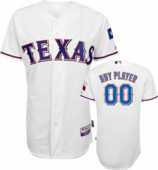 Texas Rangers Authentic Home White Baseball Jersey by Majestic