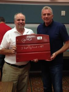NSD President Robert Hemphill with Joe Montana and a signed Candlestick Seatback
