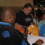 Magic Johnson autographing for a National Sports Distributors public event